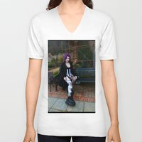 android V-neck T-shirts featuring Android by Toxic Tears