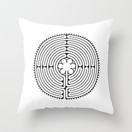 Cathedral of Our Lady of Chartres Labyrinth - Black Throw Pillow