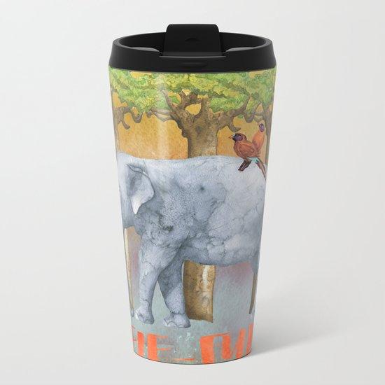ELE FUN - Elephant Elephants Africa Watercolor Illustration Metal Travel Mug