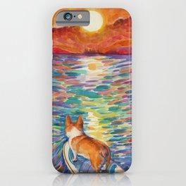 Corgi - sunset surfer iPhone Case