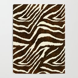 ANIMAL PRINT ZEBRA IN WINTER 2 BROWN AND BEIGE Poster