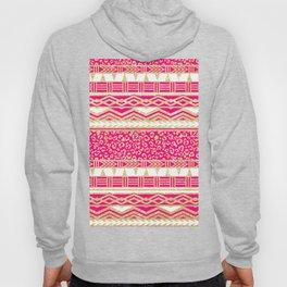 Modern neon pink faux gold glitter aztec leopard Hoody