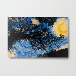Starry Forest Night Metal Print