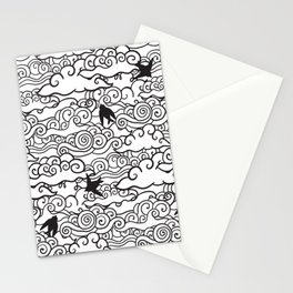 Doodle clouds and swallows. Cloudscape pattern with birds. Stationery Cards