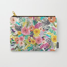 Vibrant Autumn Floral with Turquoise Carry-All Pouch