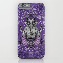 Ganesha - silver and purples iPhone Case