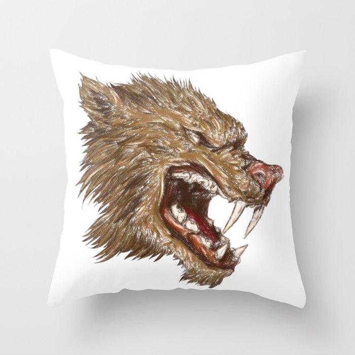 Head with sharp teeth Throw Pillow