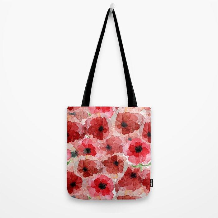 Pressed Poppy Blossom Pattern Tote Bag