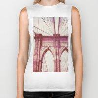 brooklyn bridge Biker Tanks featuring Brooklyn Bridge by Jon Damaschke
