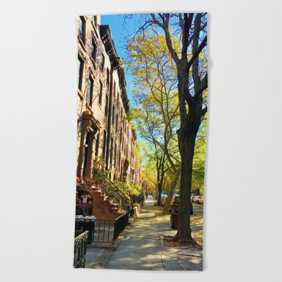 Cobble Hill Brooklyn New York in the Fall, Brownstones Beach Towel