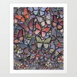 butterflies galore grunge version Art Print