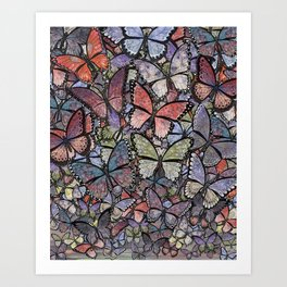 butterflies galore grunge version Art Print