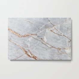 Light Gray Marble With Gold Metal Print