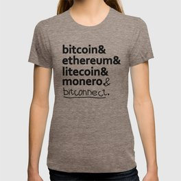 bitcoin & ethereum & litecoin & monero. (& bitconnect). T-shirt