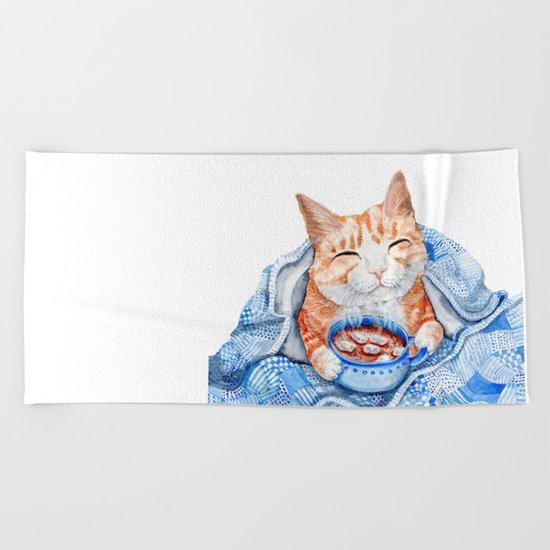 Happy Cat Drinking Hot Chocolate Beach Towel