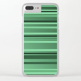 Stripes small only green Clear iPhone Case