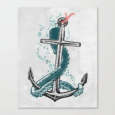 Anchor and Tentacle (Riso edition) Canvas Print