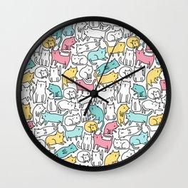 Cute kitties. Cats pattern. Wall Clock