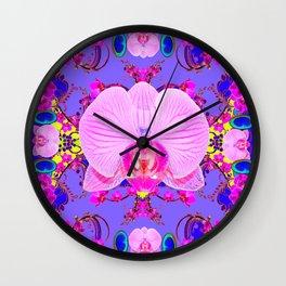 Purple Orchids Pattern Fantasy peacock eyes Art Pattern Art Design Wall Clock