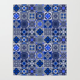 -A34- Blue Traditional Floral Moroccan Tiles. Poster