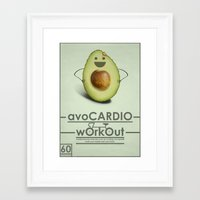workout Framed Art Prints featuring avoCARDIO workout by JosephMills