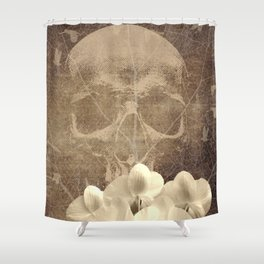 Skull Human Vintage Flowers Digital Collage Shower Curtain