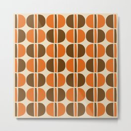 Mid Century Modern Geometric Pattern 127 Beige Brown and Orange Metal Print