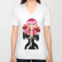 nicki V-neck T-shirts featuring Nicki M. Boxing realistic caricature by Danna Victoria
