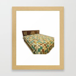 Indian Polka Dot Print Kantha Bedcover/ Bedspread Framed Art Print