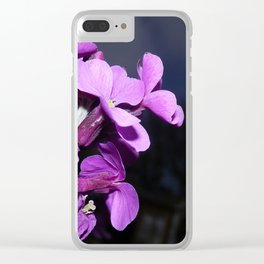 MAUVE AND PINK WALLFLOWER DARK BACKGROUND Clear iPhone Case