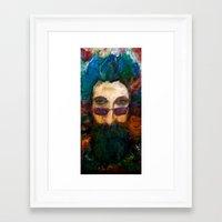 grateful dead Framed Art Prints featuring Jerry Garcia Watercolor Portrait Grateful Dead by Acorn