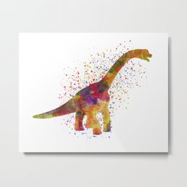 Brachiosaurus dinosaur in watercolor Metal Print