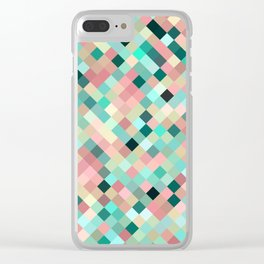 candace - mint green and petal pink mosaic  design Clear iPhone Case