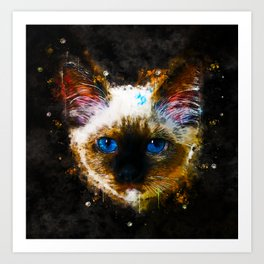 holy birma cat blue eyes splatter watercolor Art Print
