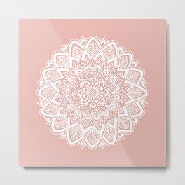Boho White Mandala on Rose Gold Metal Print