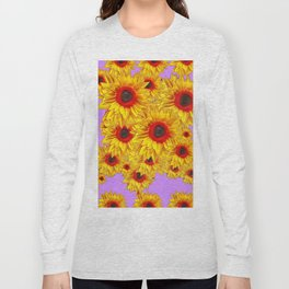 Lilac Purple & Red Center Sunflowers Pattern Long Sleeve T-shirt