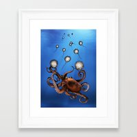 octopus Framed Art Prints featuring Octopus by Anna Shell