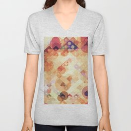 geometric square pixel and circle pattern abstract in orange brown Unisex V-Neck