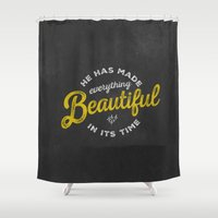 pocketfuel Shower Curtains featuring BEAUTIFUL IN TIME by Pocket Fuel