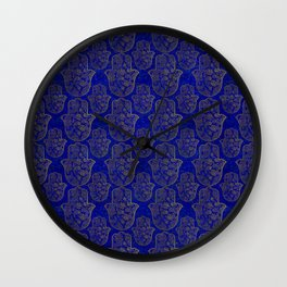 Hamsa Hand pattern - gold on lapis lazuli Wall Clock