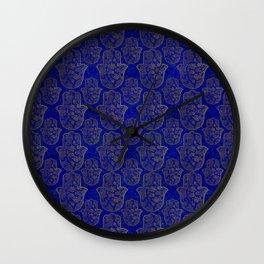 Hamsa Hand pattern - gold on lapis lazuli Wall Clock