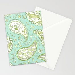 Pretty Paisley - Aqua/Green Stationery Cards