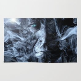 face with smoke in front Rug