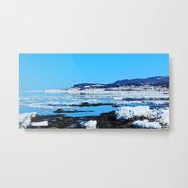 Winter Coastal Town Metal Print