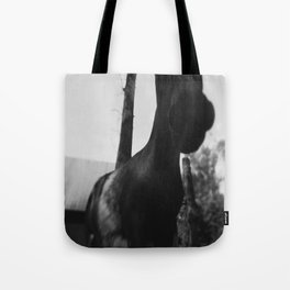 Horse at the Zoo Black and White Tote Bag
