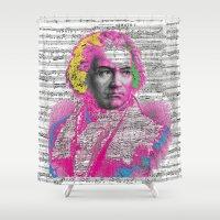 beethoven Shower Curtains featuring Ludwig van Beethoven by Gabriel J Galvan