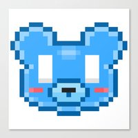 8bit Canvas Prints featuring 8Bit Kawaiikuma by Bear Picnic