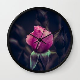 Pink Rose in the Night. Wall Clock