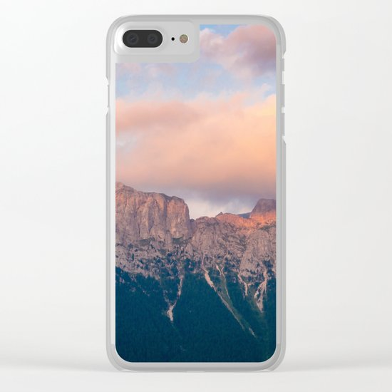 Pink Sunset over Mount Amazing Clear iPhone Case