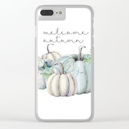 welcome autumn blue pumpkin Clear iPhone Case
